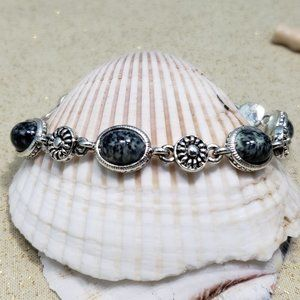Faux Gemstone Acrylic silver plated bracelet black
